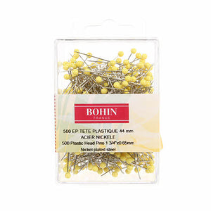 Bohin: Yellow Head Quilting Pins - size 28, 1 3/4in