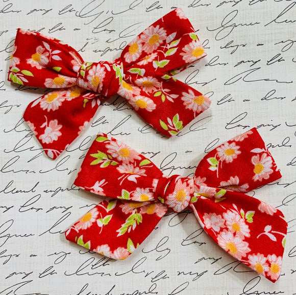 Camille red pigtail bows