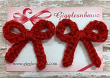 Red Sparkle ~ Crochet pigtail bows