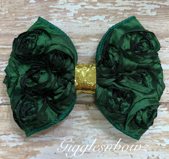 Forest Green Rosette Bow w Gold Glitter
