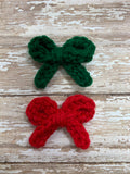 Mismatched Christmas Fun~ Petite piggie crochet bows