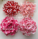 Red Chevron Chiffon Lace Hair Flower