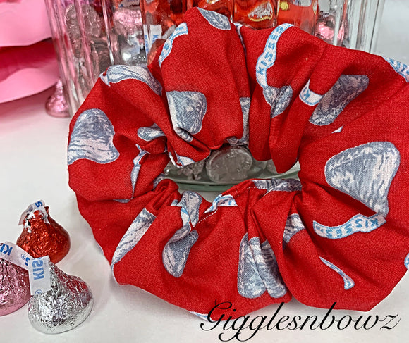 Chocolate Kisses ~ Cotton Hair Scrunchy