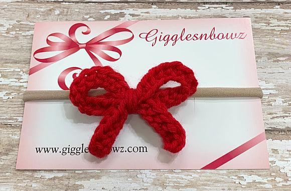 Red ~ Crochet hair bow