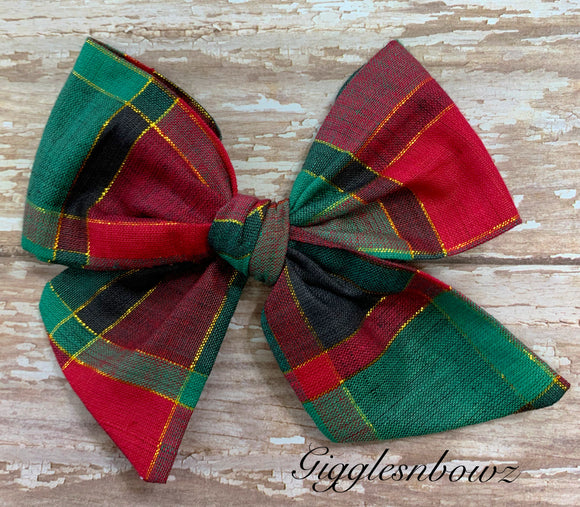 Christmas Plaid ~ Pinwheel Bow