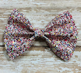 Confetti multi color ~ Glitter hair bow