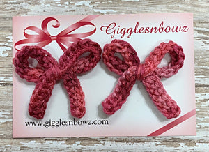 Shades of Pink ~ Crochet pigtail bows