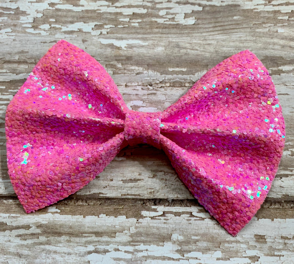 Bubblegum Pink ~ Glitter hair bow
