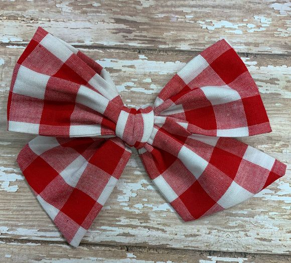 Red/white plaid check~ Pinwheel Bow