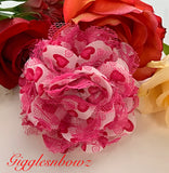 Hot Pink Hearts Chiffon Lace Hair Flower