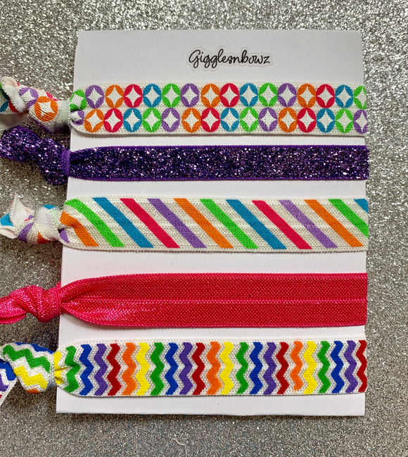 Rainbow hair ties