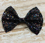 Black multi ~ Glitter hair bow