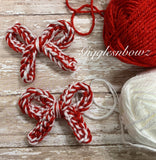 Red and White sparkle~ Crochet hair bow