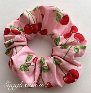 Cherries~ Cotton Hair Scrunchy