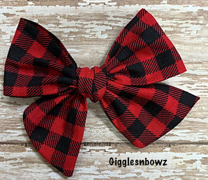 Buffalo plaid check~ Pinwheel Bow