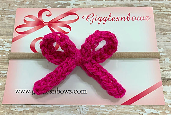 Bright hot pink ~ Crochet hair bow