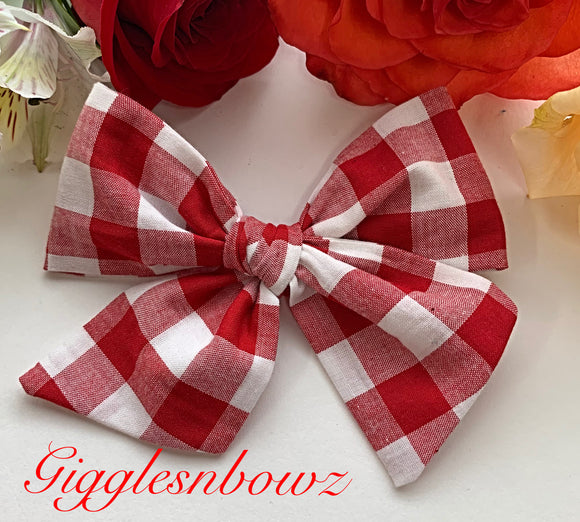 Sweet Red Checks~ Pinwheel Bow