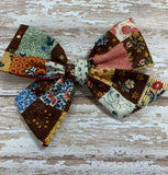 Vintage Fall Patchwork// Pinwheel bow
