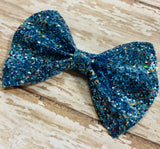 Turquoise ~ Glitter hair bow