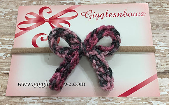 Pink/gray~ Crochet hair bow