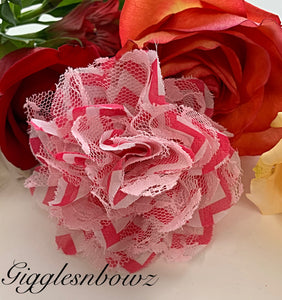 Hot Pink Chevron Chiffon Lace Hair Flower