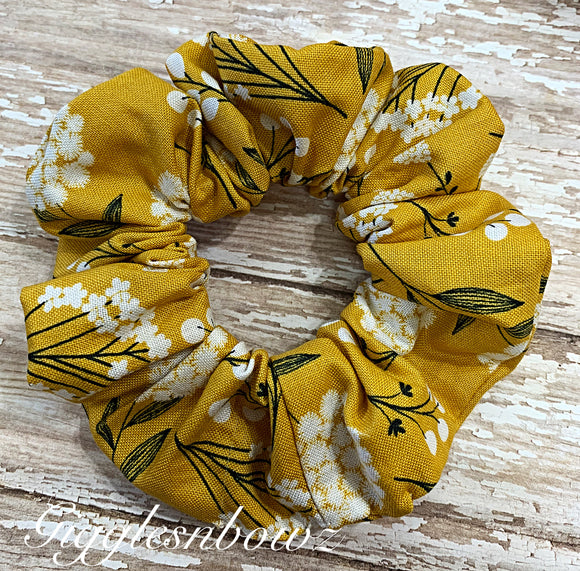 Mustard floral ~ Cotton Hair Scrunchy