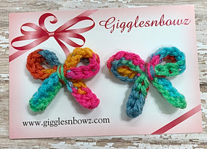 Fruit Loops ~ Petite piggie crochet bows