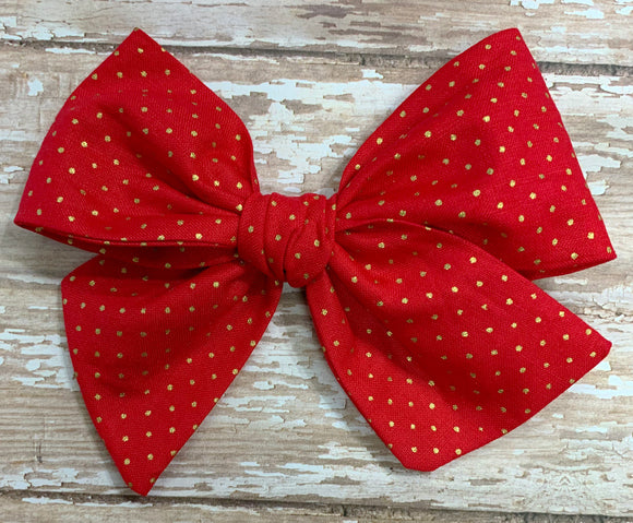 Red with Gold Dots~ Pinwheel Bow