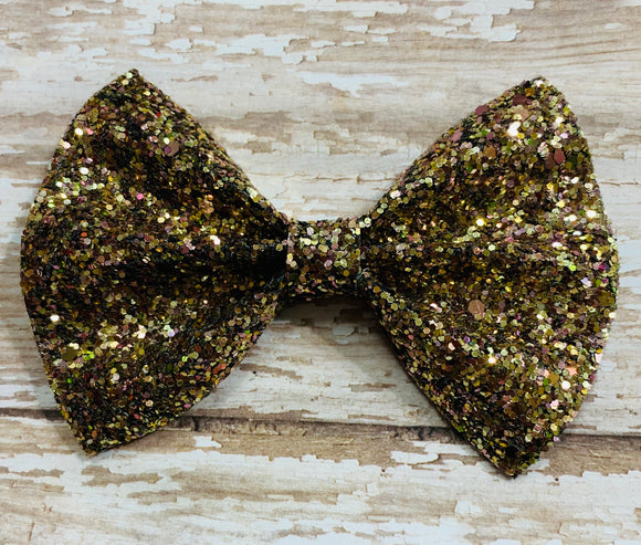 Copper~ Glitter hair bow