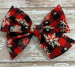 Snowflakes Buffalo Plaid~ Pinwheel Bow