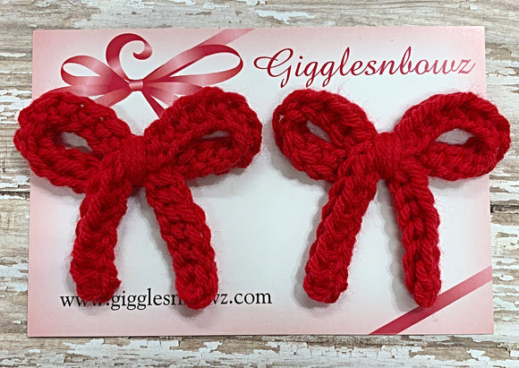 Festive Red ~ Crochet pigtail bows