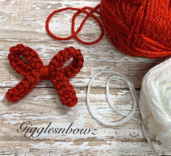 Red sparkle~ Crochet hair bow