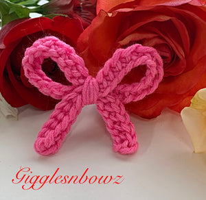 Bright Pink ~ Crochet hair bow