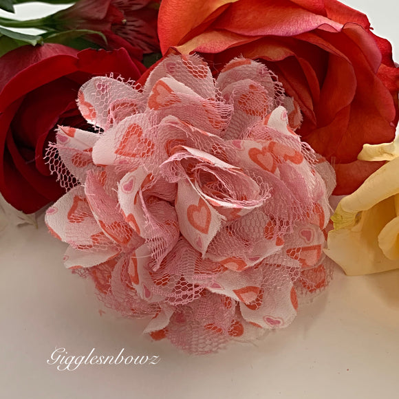 Peachy pink Chiffon Lace Hair Flower
