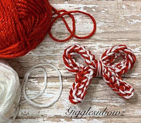Candycane sparkle~ Crochet hair bow