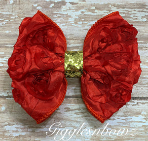 Red Rosette Bow w Gold Glitter