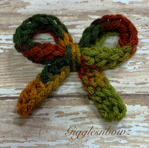 Camouflage ~ Crochet hair bow