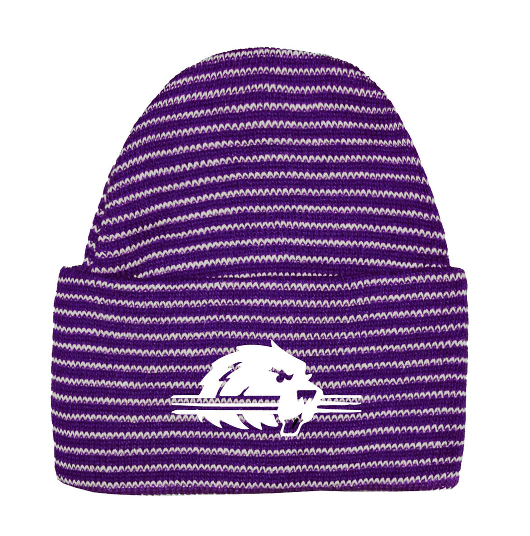 Infant Stripe Knit Cap, Purple