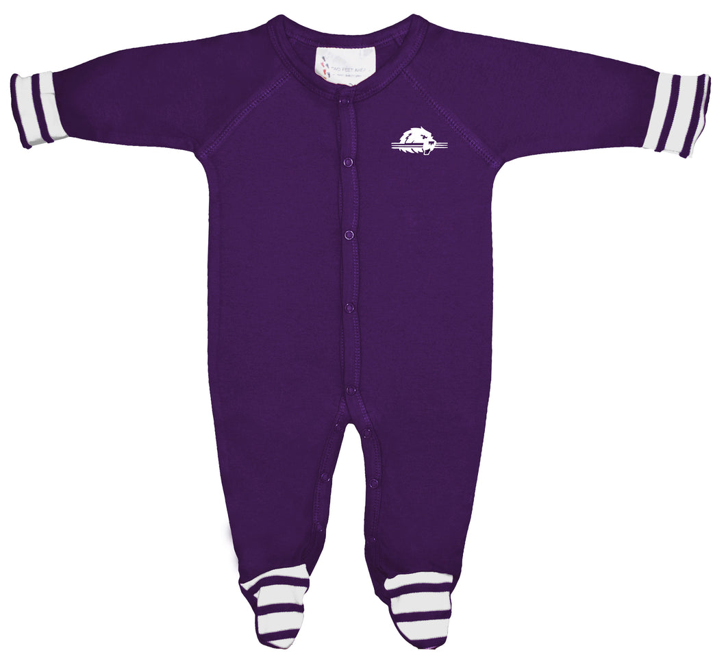 College Footed Romper, Purple