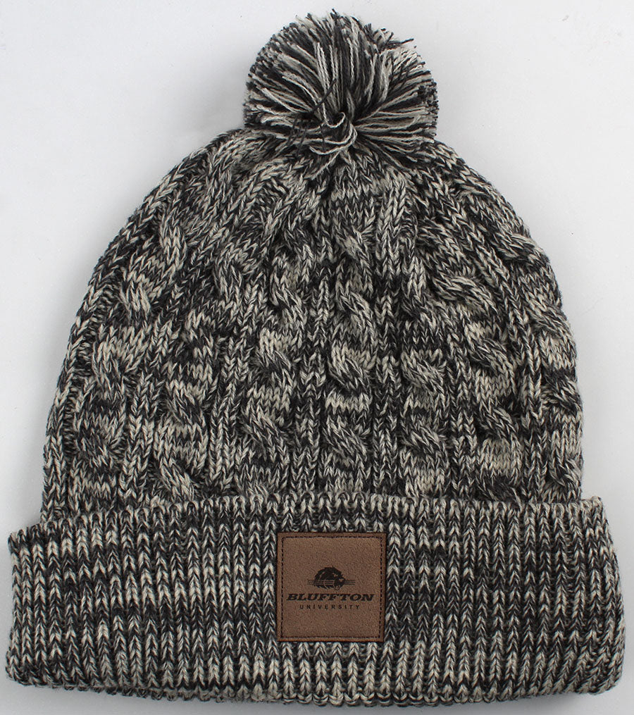 Ahead, Heather Cable-Knit W/Pom Beanie, University Grey/Ivory