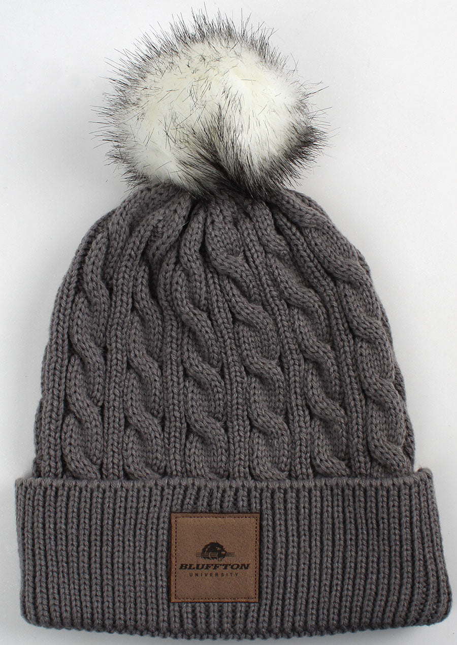 Ahead, Ladies Knit Beanie W/Pom, Slate Grey