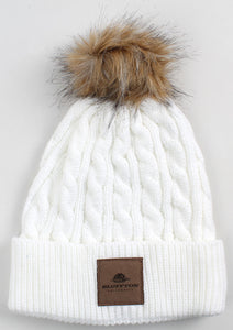 Ahead, Ladies Knit Beanie W/Pom, Winter White