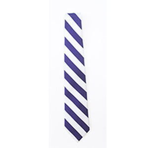 Striped Tie - Purple/White