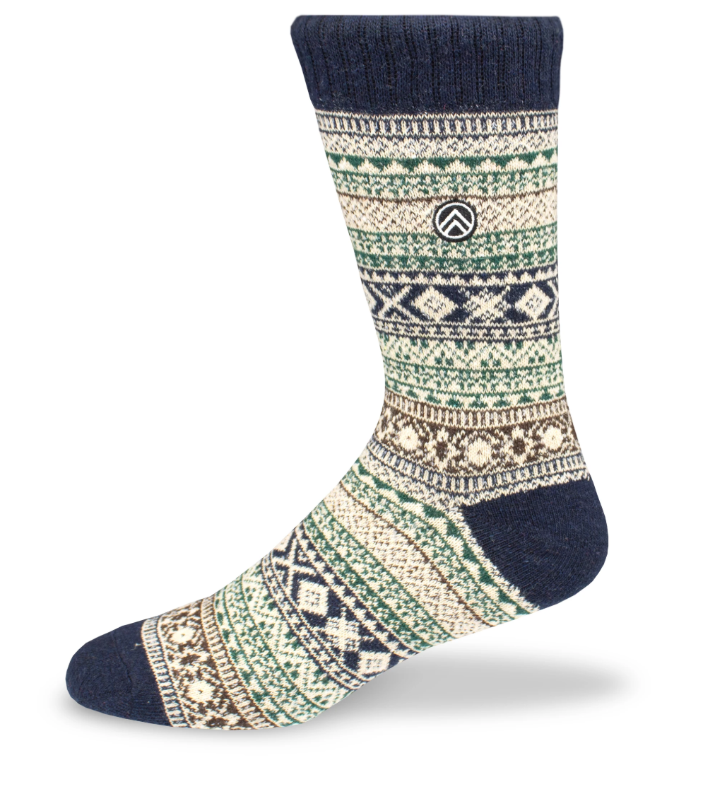 Sky Footwear Acadia Vintage Winter Wool Socks, Dark Blue