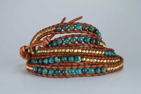 Turquoise & Brown Leather Beaded Wrap Bracelet