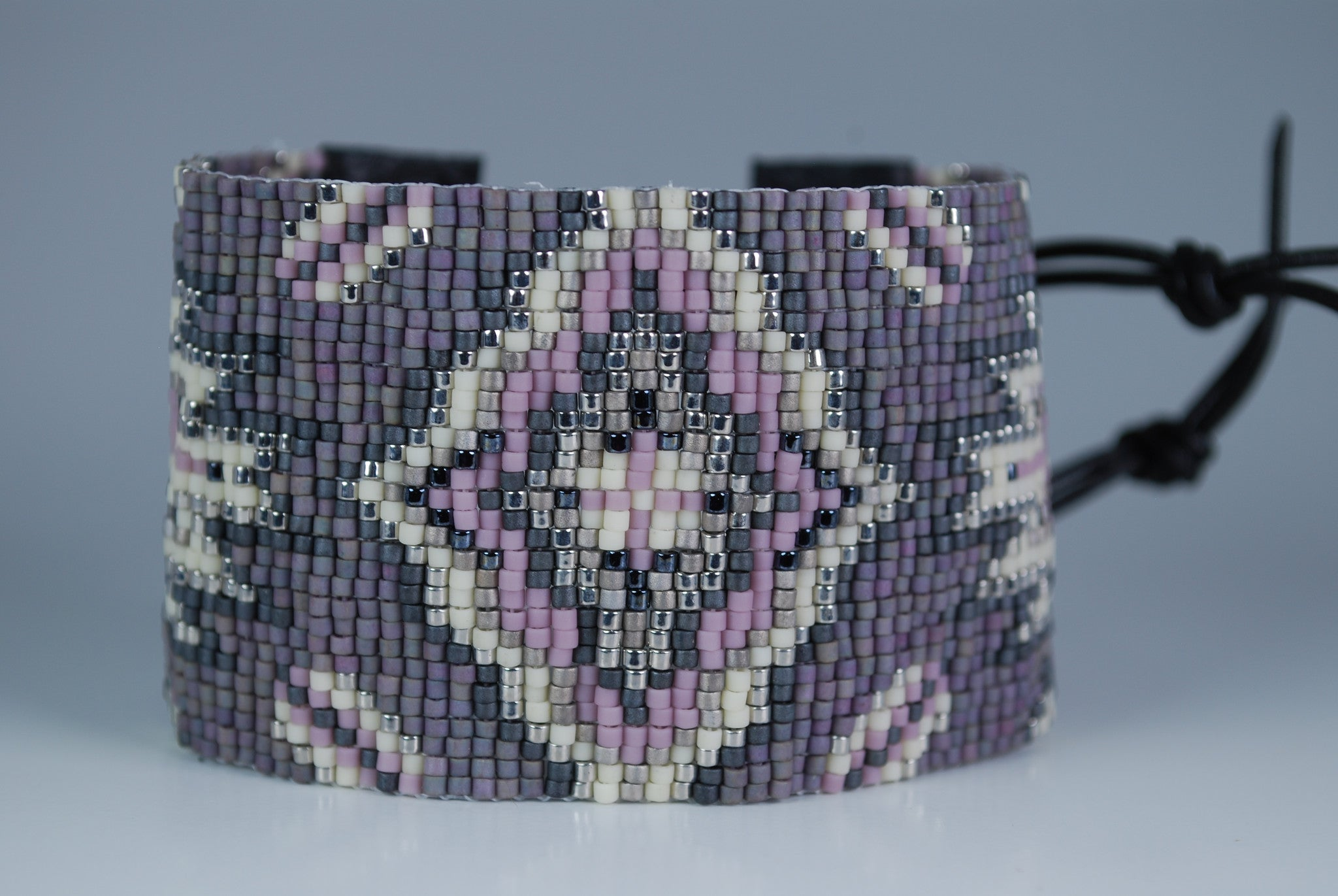 Purple and Silver Beaded Cuff