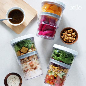 Botto™: The Adjustable Container 1.0 Original (Clear) Push Down To Remove Air And Adjust Contents Between 16 oz & 32 oz