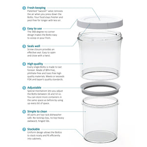 8-pc Botto: The Adjustable Container Complete Set (Clear+Blocks UV) - Botto Design <thebotto.com>