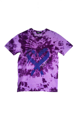 RECLAIMED Spray Heart Tee Purple