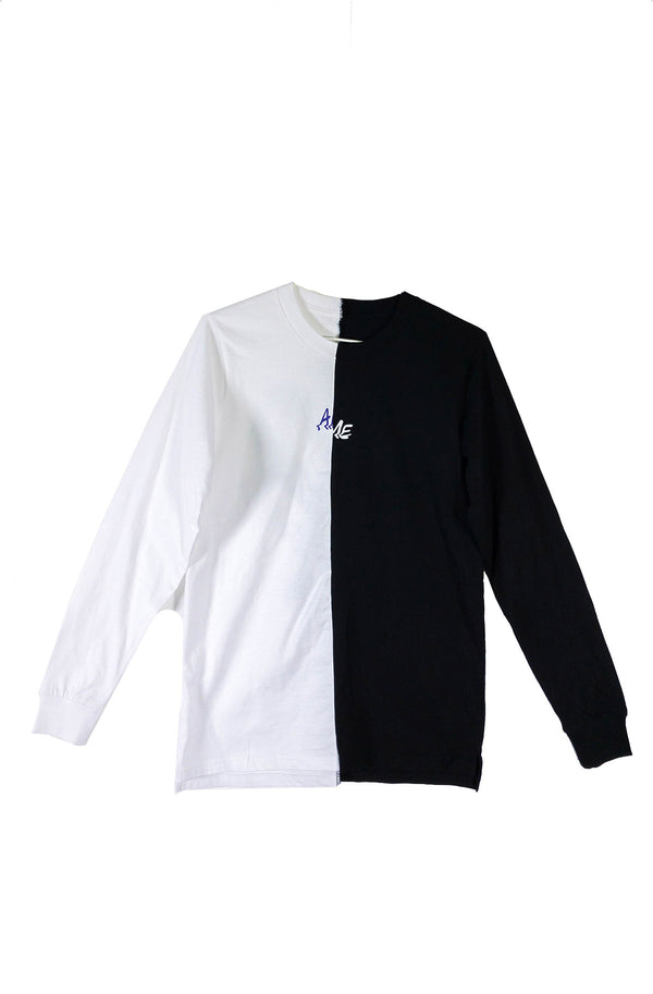 RECLAIMED Split L/S Tee Black + White